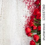 Stock photo wood background with roses 123337360