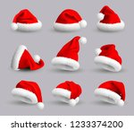 set of red santa claus hats... | Shutterstock . vector #1233374200