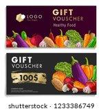 gift voucher with vegetables   Shutterstock .eps vector #1233386749
