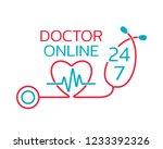 doctor online logo on white...   Shutterstock . vector #1233392326