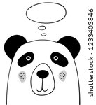 doodle cartoon panda with... | Shutterstock .eps vector #1233403846