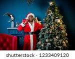 african santa claus stands near ... | Shutterstock . vector #1233409120