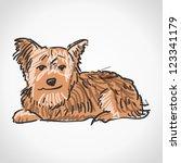 sitting yorkshire terrier  ... | Shutterstock .eps vector #123341179