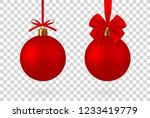 realistic red christmas ball... | Shutterstock .eps vector #1233419779