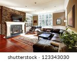 luxury living room with stone... | Shutterstock . vector #123343030