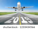 the inscription on the runway... | Shutterstock . vector #1233434566