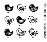 hand drawn cartoon birds in...   Shutterstock .eps vector #1233439753