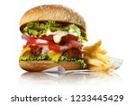 delicious burger with potato... | Shutterstock . vector #1233445429
