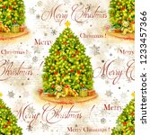christmas tree with decoration... | Shutterstock . vector #1233457366