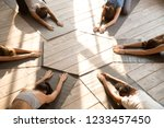 top above view yoga position... | Shutterstock . vector #1233457450