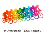 colorful poster with cyclists... | Shutterstock .eps vector #1233458059