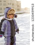 boy enjoying the first snow in... | Shutterstock . vector #1233459913