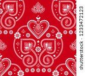 folklore floral nordic...   Shutterstock .eps vector #1233472123