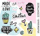 vector set with cactuses ... | Shutterstock .eps vector #1233475633