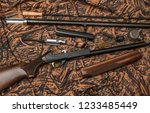 disassembled shotgun parts and... | Shutterstock . vector #1233485449