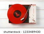 retro turntable vinyl record... | Shutterstock . vector #1233489430