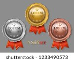set of three medals with red... | Shutterstock .eps vector #1233490573