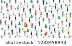 crowd of people celebrating... | Shutterstock .eps vector #1233498943