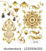 golden baroque and knotting... | Shutterstock .eps vector #1233506203