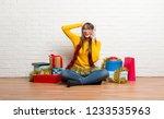 girl celebrating the christmas...   Shutterstock . vector #1233535963