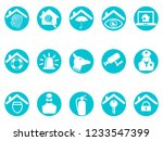 blue home security round button ... | Shutterstock .eps vector #1233547399