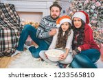 scared members of family sits... | Shutterstock . vector #1233565810