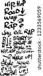 many graffiti tags on a white... | Shutterstock .eps vector #1233569059