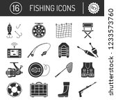 set of fishing icons in flat... | Shutterstock .eps vector #1233573760