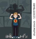 motivation concept  little boy... | Shutterstock .eps vector #1233578680