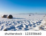 Bales of hay laying in snow on farm winter field - stock photo