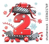 red number two 2 inside open...   Shutterstock . vector #1233621769