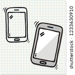 hand drawn phone icons  vector... | Shutterstock .eps vector #1233630910