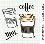 coffee time in doodle style | Shutterstock .eps vector #1233631369