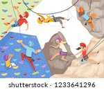 climb characters. extreme sport ... | Shutterstock .eps vector #1233641296