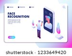 face recognition isometric... | Shutterstock .eps vector #1233649420