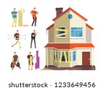 old and new home. renovation of ... | Shutterstock .eps vector #1233649456