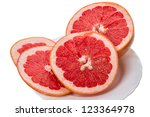 Red Grapefruit portion a white plate - stock photo