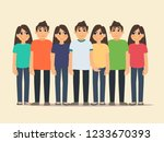 group of happy people in casual ... | Shutterstock .eps vector #1233670393