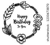 birthday card with cute flowers ... | Shutterstock .eps vector #1233673870