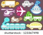 set of coloured transport icons ... | Shutterstock .eps vector #123367498