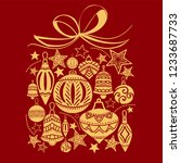 christmas gift  sketch drawing...   Shutterstock .eps vector #1233687733