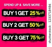 buy 1 get 25  off  sale banners ... | Shutterstock .eps vector #1233718486