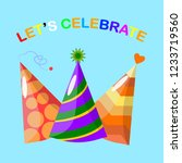 set of birthday party hat... | Shutterstock .eps vector #1233719560