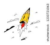illustration of a flying pencil ... | Shutterstock .eps vector #1233721063