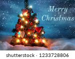 merry christmas  greeting card  | Shutterstock . vector #1233728806