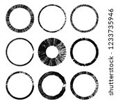 set of grunge circles. damage... | Shutterstock .eps vector #1233735946