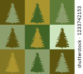 set of simple christmas tree | Shutterstock .eps vector #1233742153