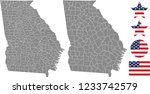 Georgia county map vector outline in gray background. Georgia state of USA map with counties names labeled and United States flag vector illustration designs