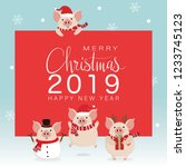 merry christmas greeting card... | Shutterstock .eps vector #1233745123