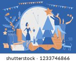 people decorating christmas... | Shutterstock .eps vector #1233746866